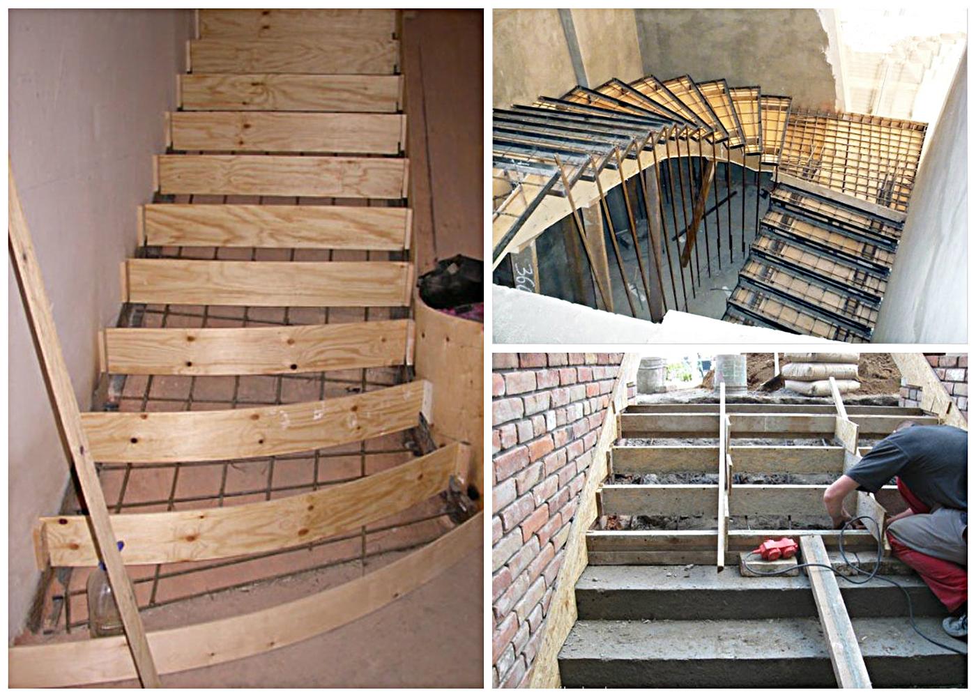Этапы изготовления монолитной лестницы