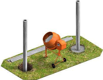 Технология установки столба и бетонирование основы