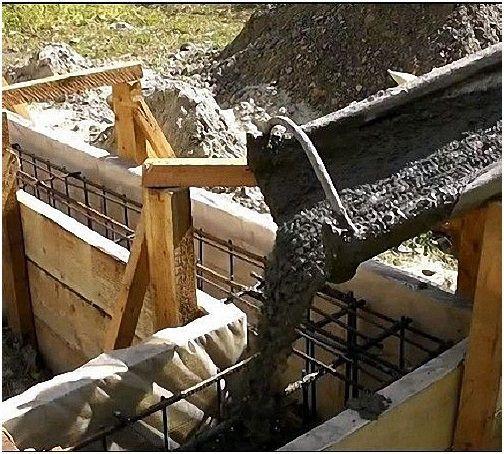 Заливка бетоном опалубки ленточного фундамента