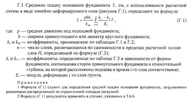 Формула определения средней величины осадки по схеме линейно-деформируемого слоя (приложение Г СП ).