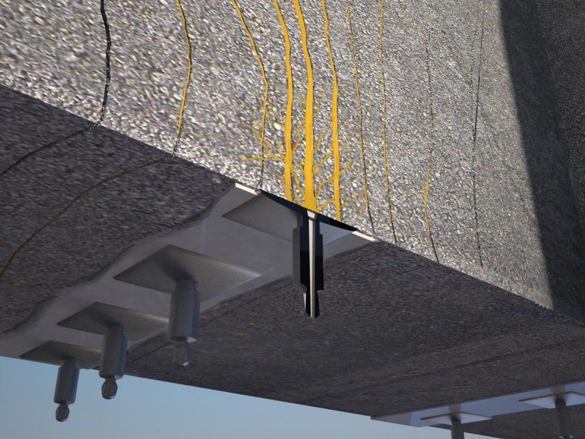 инъектирование смолы в трещину бетона