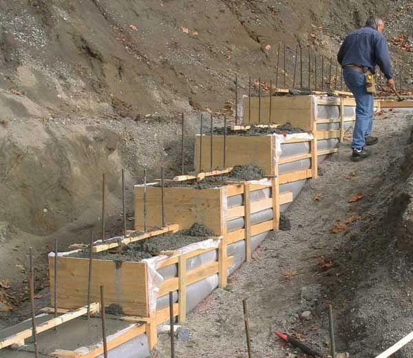 Заливка каркаса бетоном