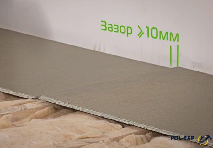 Плиты укладывают, отступив от стены 10 мм