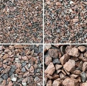 Пример различных фракций щебня для бетона фундамента