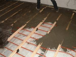 Процесс монтажа стяжки теплого водяного пола