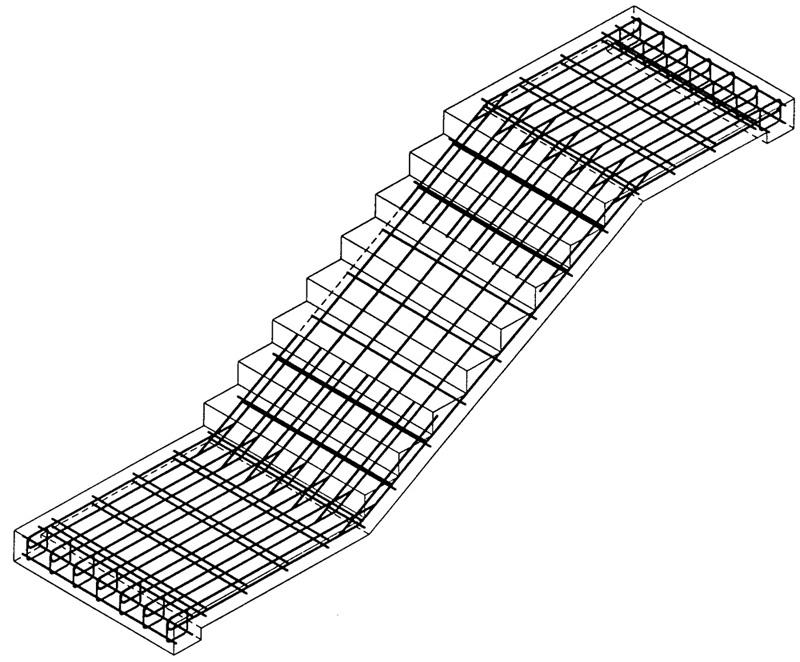 Армирование лестницы с площадками