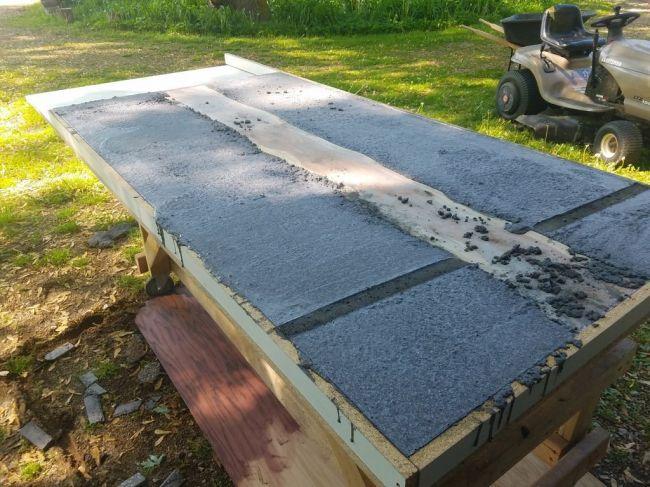 Заливка столешницы из бетона и дерева