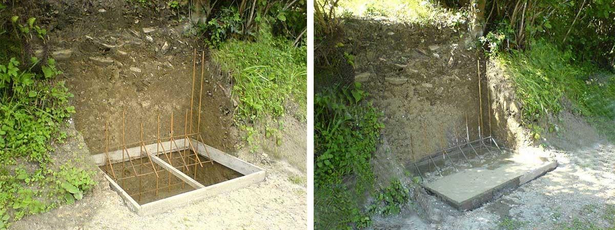 Укладка бетона для подпорной стены