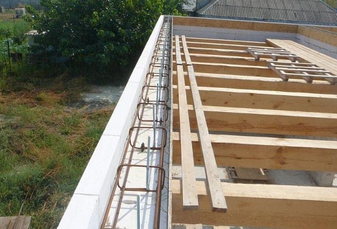 Армирование армопояса для дома из газобетона