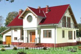 Проект дома с гаражом, террасами, мансардой и балконами, 190 кв.м.
