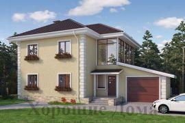 Проект дома из газобетона с застеклённой верандой на мансарде, 10x15