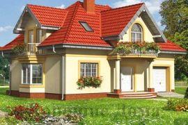 Проект дома из газобетона с четырьмя мансардными эркерами
