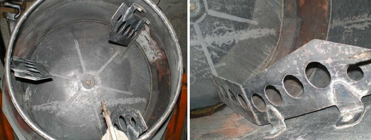 Форма лопастей - сложная штука. Надо чтобы они улучшала перемешивание, а не задерживали бетон от падения вниз