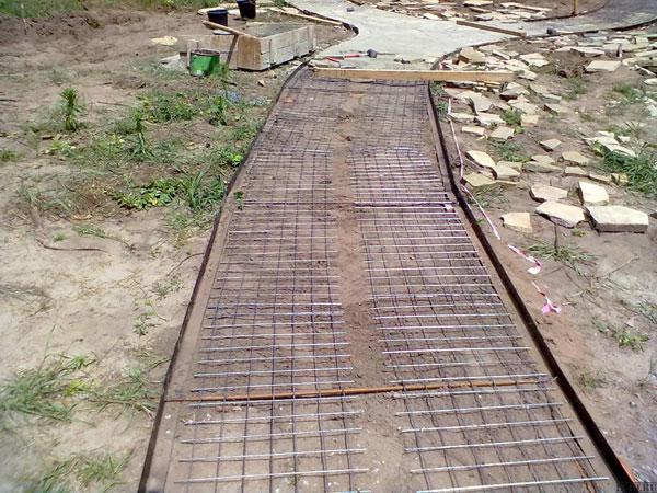 Армирование бетонной дорожки