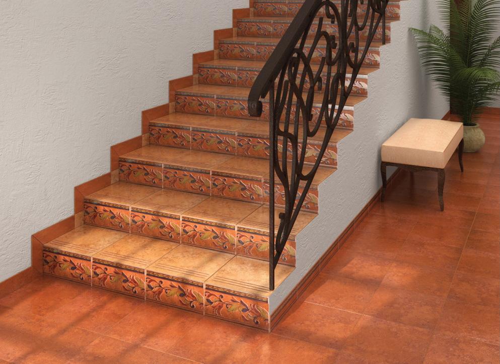 Керамическая плитка на лестнице