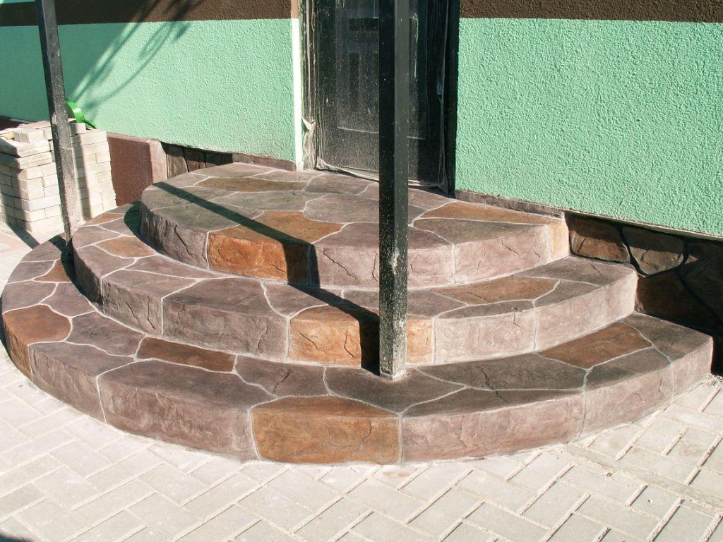 Конструкция крыльца из бетона с отделкой натуральным камнем