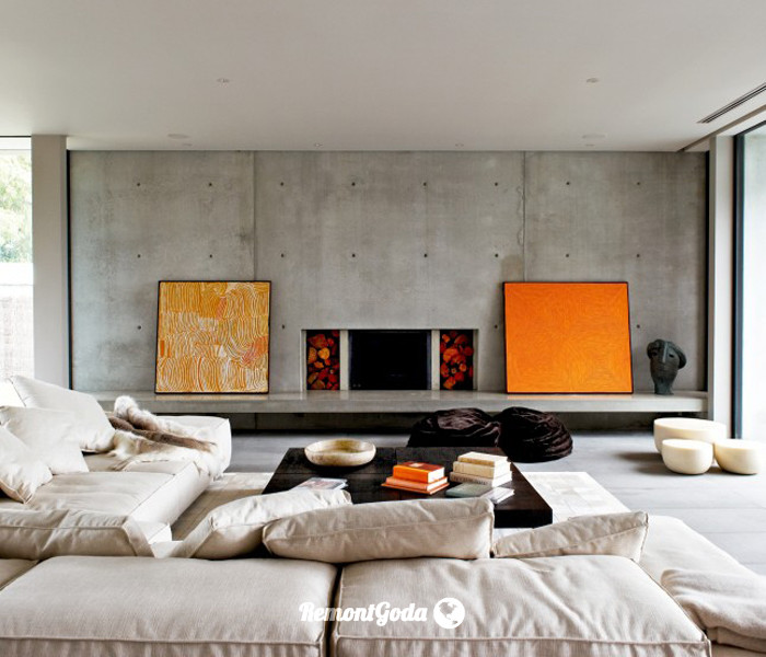 фото: окрашенная бетонная стена