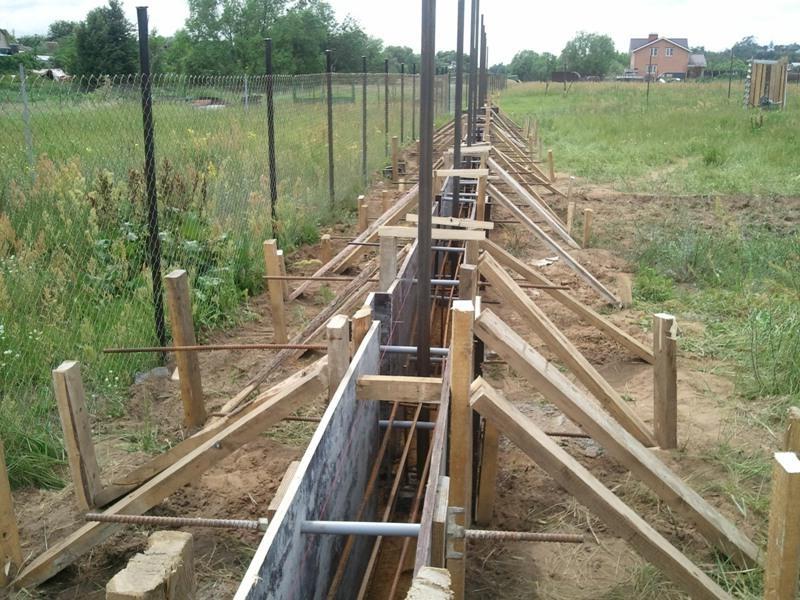 Опалубка для ленточного фундамента под забор