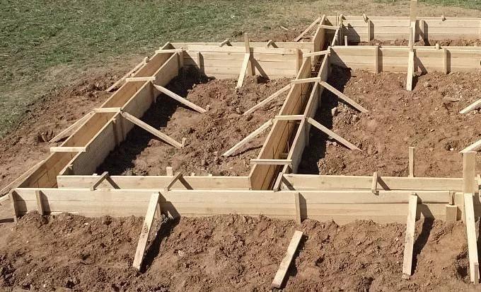 Опалубка под фундамент для бани