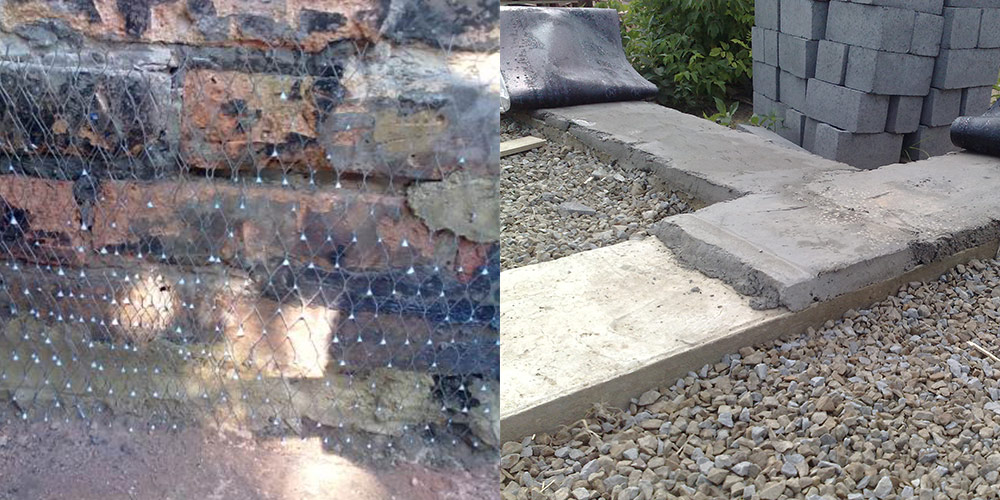 Выравниваем фундамент после отвердения бетона