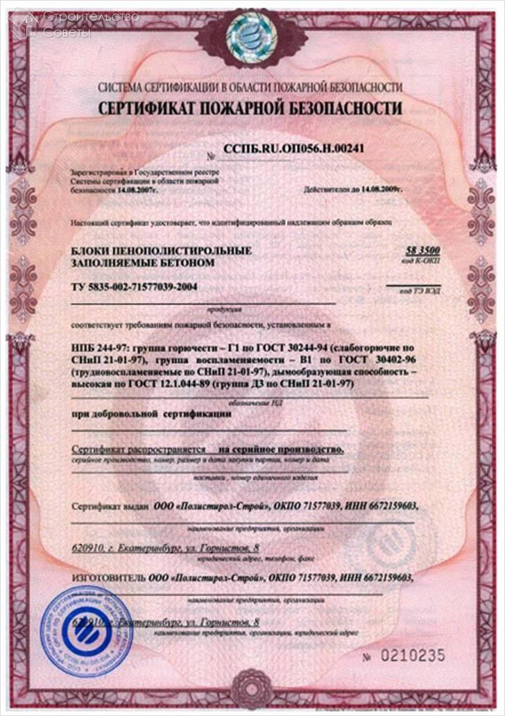 Сертификат пожарной безопасности