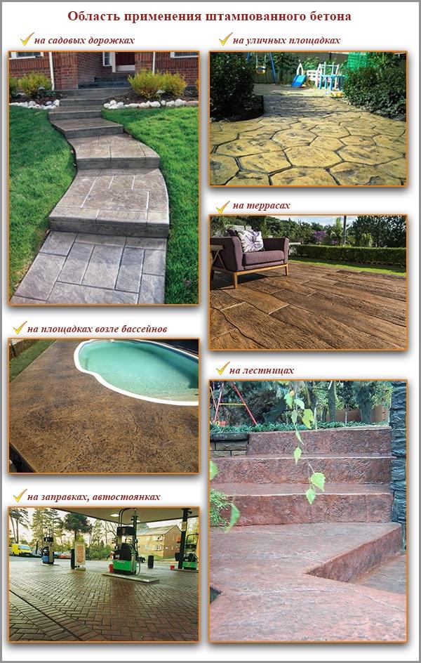 Область применения штампованного бетона