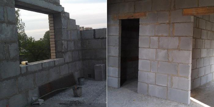 Стена из полистиролбетонных блоков