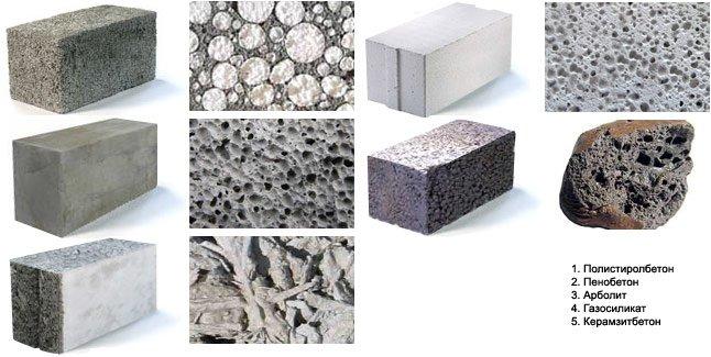 Стеновые блоки из различных материалов