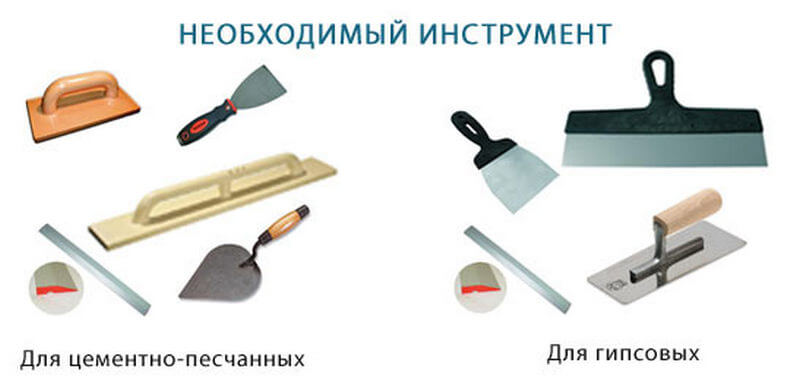 Необходимые инструменты для штукатурки стен