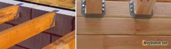Крепление деревянных балок перекрытия подвесным методом