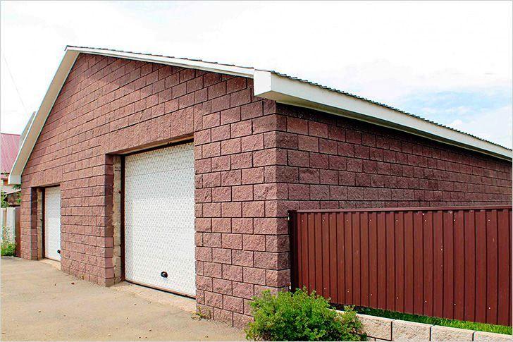 фасад гаража из керамзита