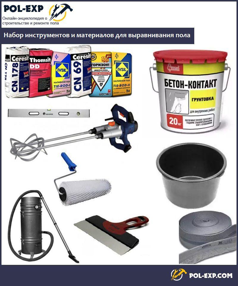Набор инструментов и материалов для выравнивания пола