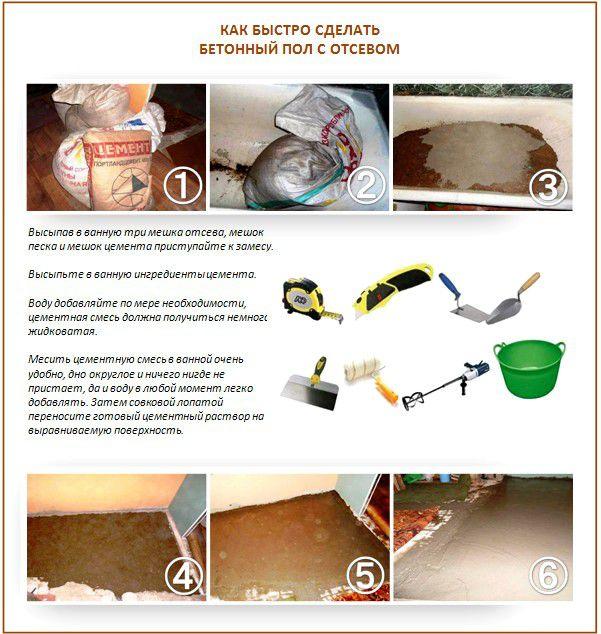Как быстро сделать бетонный пол с отсевом